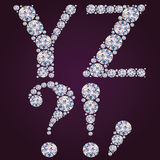 Alphabet of diamonds YZ Stock Images