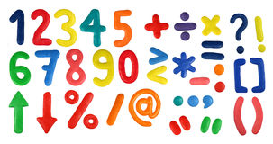 Alphabet - Digits and symbols. Colorful Alphabet (Part 2 - Digits and symbols) made from plasticine (isolated on white). Use it to make your own message Stock Photos