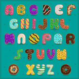Alphabet Donuts. Sweet font. Vector Illustration Stock Image