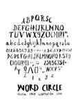 Alphabet doodle illustration circle form line sketch style eps10. Alphabet doodle illustration circle form line sketch style stock illustration