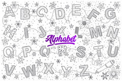 Alphabet doodle set with bright lettering Stock Photography