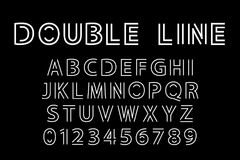 Double line font. Alphabet and double line font. Modern actual vector illustration in line art style Stock Photo