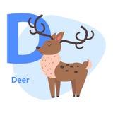 Alphabet drôle avec la lettre bleue animale D de bande dessinée Image libre de droits