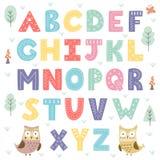 Alphabet drôle de forêt pour des enfants Images libres de droits