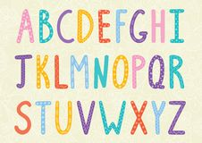 Alphabet drôle de longues lettres Photographie stock