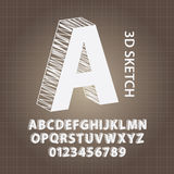 alphabet du croquis 3D et vecteur de nombres Images stock
