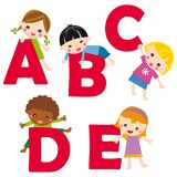 Alphabet A-E. Cartoon letters with children in different positions (A-E