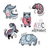 Alphabet A - E d'animaux pour des enfants illustration stock