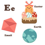 Alphabet E letter. Earth,Easter,Email Stock Image