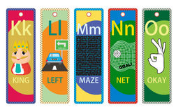 Alphabet Educational Bookmarks K-O for Children Royalty Free Stock Images