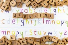 Alphabet educational spelling display royalty free stock photos