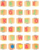 Alphabet eingestellt auf Schaumgummi-Blöcke lizenzfreie stockbilder