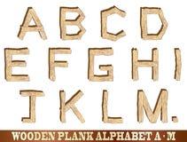 Alphabet en bois de planche A à M Photographie stock libre de droits