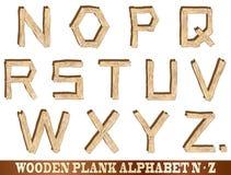 Alphabet en bois de planche N à Z Photos stock