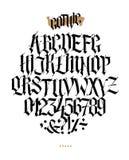Alphabet en entier dans le style gothique Vecteur Lettres et symboles sur un fond blanc Calligraphie et lettrage Latin médiéval illustration stock