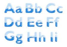 Alphabet en verre et d'eau Images libres de droits