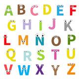 Alphabet. English abc. Letters with face, eyes. Education cards for kids  White background Flat design Stock Image