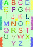 Alphabet. English alphabet with the letters in different colours and shapes Royalty Free Stock Photos