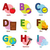 Alphabet english from A to I Royalty Free Stock Image