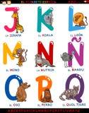 Alphabet espagnol de bande dessinée avec des animaux Photographie stock libre de droits