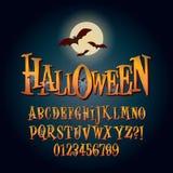 Alphabet et chiffre tridimensionnels Vec de Halloween illustration de vecteur