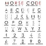 Alphabet et chiffres dans le code Morse Images stock