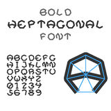Alphabet et chiffres heptagonaux audacieux Police géométrique Vecteur Images stock