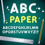 Alphabet et ensemble de papier coupés d'équipement illustration libre de droits
