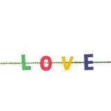 Alphabet et mot en bois colorés d'AMOUR Tir de studio d'isolement dessus Photo stock
