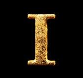 Alphabet et nombres dans la feuille d'or Images libres de droits