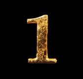 Alphabet et nombres dans la feuille d'or Image libre de droits