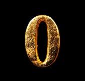 Alphabet et nombres dans la feuille d'or Photos libres de droits