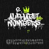 Alphabet et nombres de graffiti illustration de vecteur