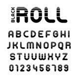 Alphabet et nombres de petit pain avec des rayures illustration libre de droits