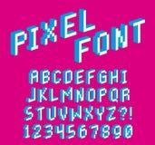 Alphabet et nombres de police du pixel 3D d'isolement Image libre de droits