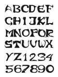 Alphabet et numéros de graffiti Photographie stock libre de droits
