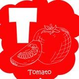 Alphabet für Kinder mit Gemüse Gesunde Buchstabe-ABC-T-Tomate Lizenzfreies Stockbild
