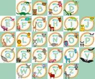 Alphabet für Kinder von A zu Z Satz der lustigen Karikaturtierholzkohle Stockbilder