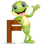 Alphabet F with Frog cartoon stock illustration