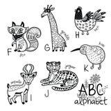 Alphabet F - K d'animaux pour des enfants Page de coloration de vecteur Photo libre de droits