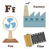Alphabet F letter.Factory,Fan, film. Illustration of alphabet F letter.Factory,Fan, film Stock Photo