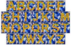 Alphabet fait de feuilles d'automne d'isolement sur le fond blanc Image stock