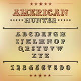 Alphabet with figures in the style of American westerns. Illustration Royalty Free Stock Photo