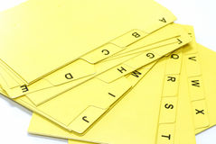 Alphabet file cards. Yellow alphabet file cards for office use Royalty Free Stock Photos