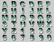 Alphabet fire flame green Royalty Free Stock Images