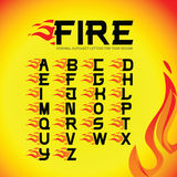 Alphabet fire letters set. Burning flame design element. Corporate branding identity design template on white background. ABC letters collection. Isolated Stock Image