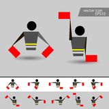 Alphabet - flag semaphore system. Vector alphabet icon vector illustration