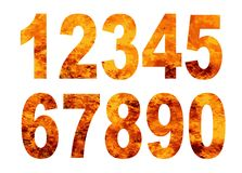 Alphabet Flame Numbers Over A White Background. A set of numbers in roaring flames on a white background Stock Photography