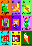 Alphabet flash cards A-I. Naive illustrations. Stock Photo