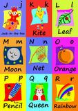 Alphabet flash cards J-R. Naive illustrations. Stock Photos